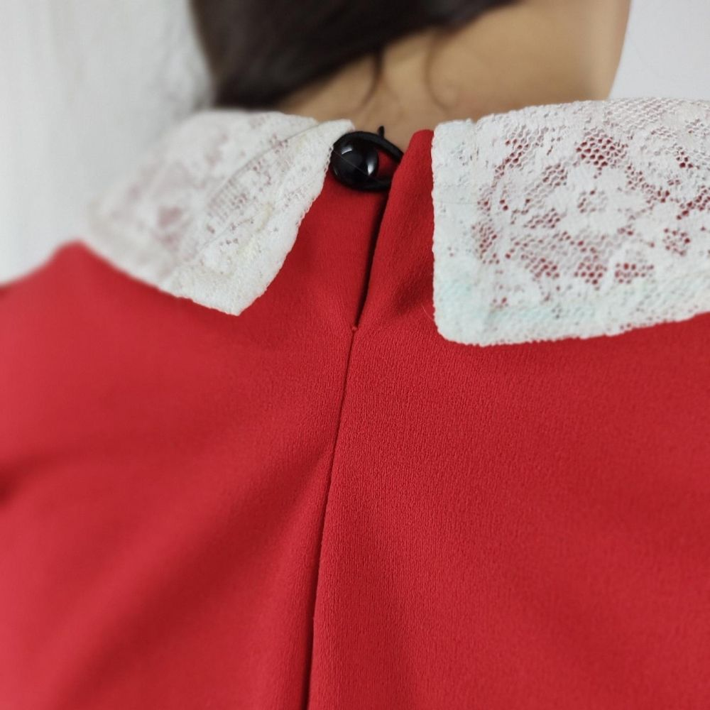 Vestido Vermelho Manga Longa