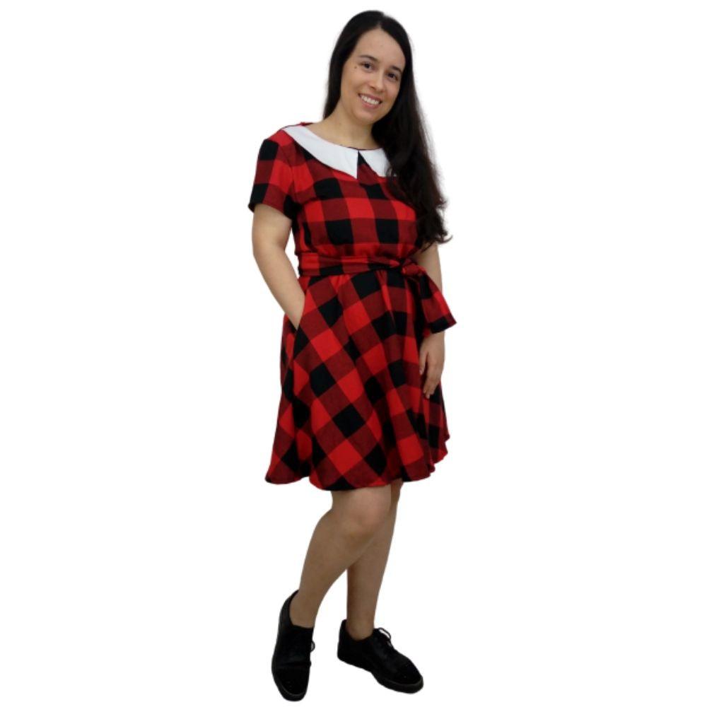 Vestido Xadrez Vermelho e Preto
