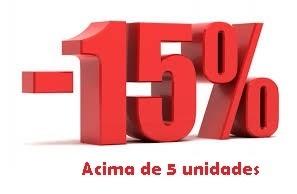 desconto 15% compras acima de 5 unidades
