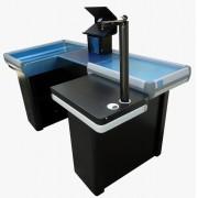 Checkout Metalico em U com Kit Automação para Caixa Supermercado - 1,80m Bilateral