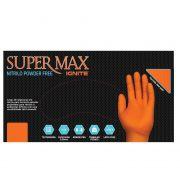 Luva para proteção química, mecânica e riscos gerais Borracha Sintética Supermax Powder Free Nitrilo Ignite Orange