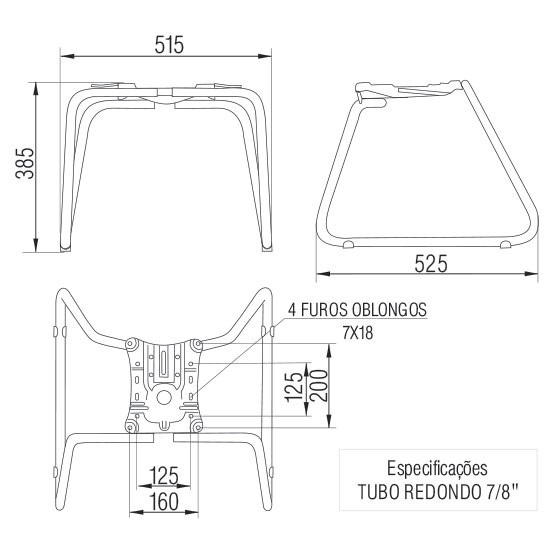 Base Estrutura para Cadeira Fixa tipo  Trapezio Executiva-Diretor Frisokar