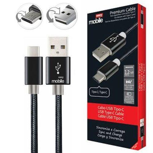 Cabo USB Tipo C Easy Mobile - Premium Cable - Preto - 1,20 mt