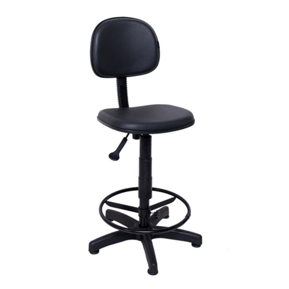 Cadeira Caixa Alta Giratória Fixa com Regulagem e Apoio Pés