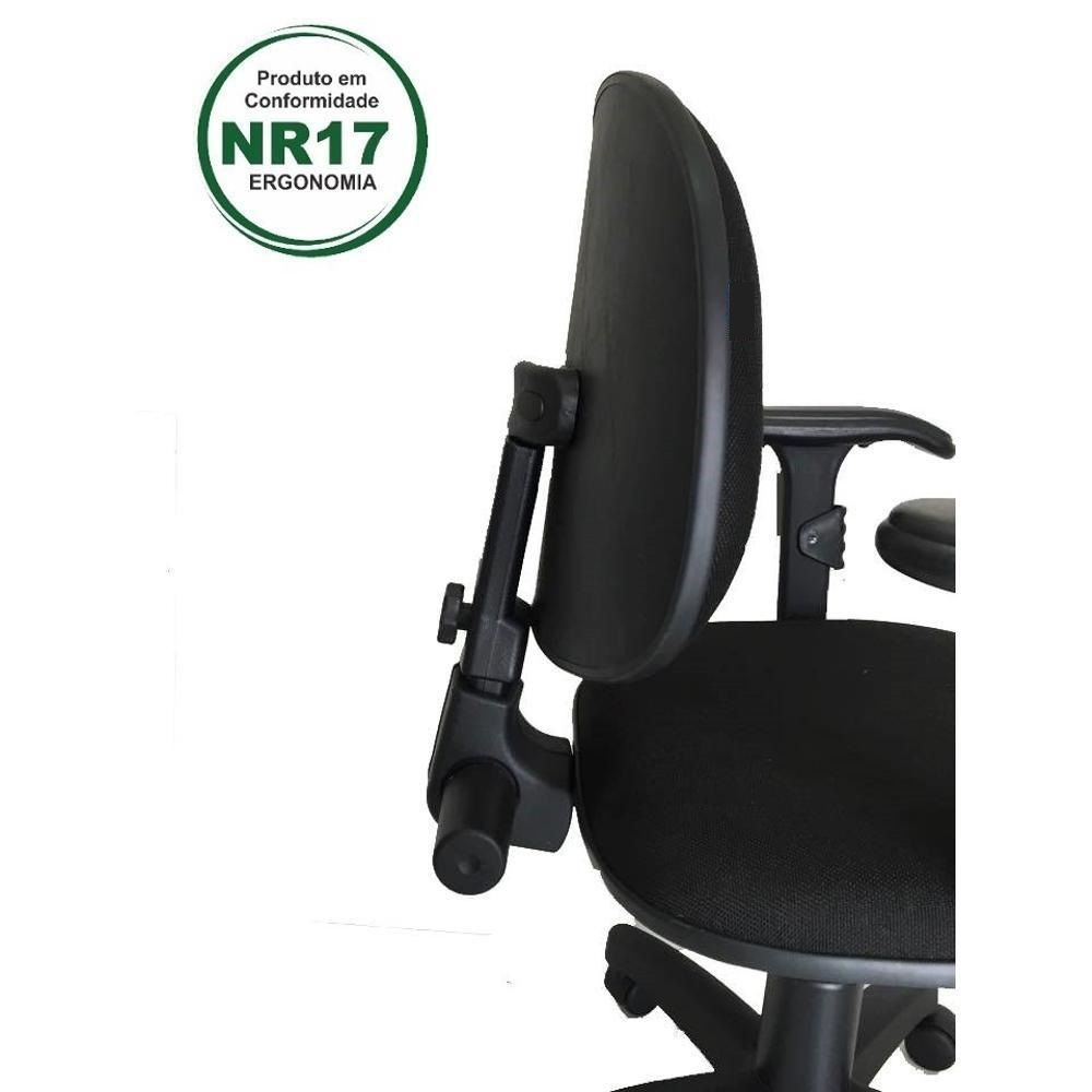Cadeira Executiva nr 17 back system preta com braços  e certificado