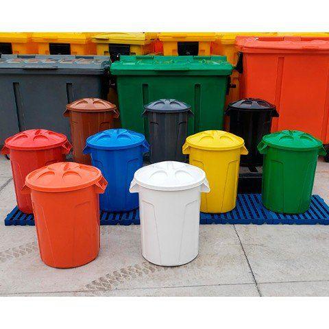 Cesto de Lixo de 60 Litros Redondo com tampa