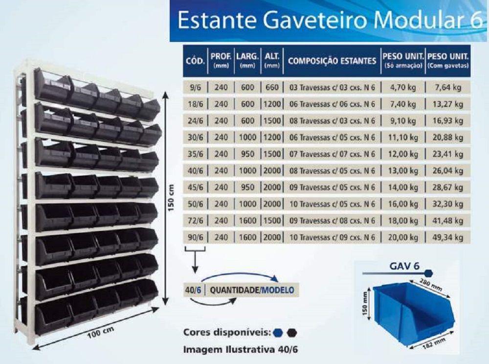 Estante caixa box organizadora para gavetas bin nº 6 com ( 9 a 50 Gavetas)