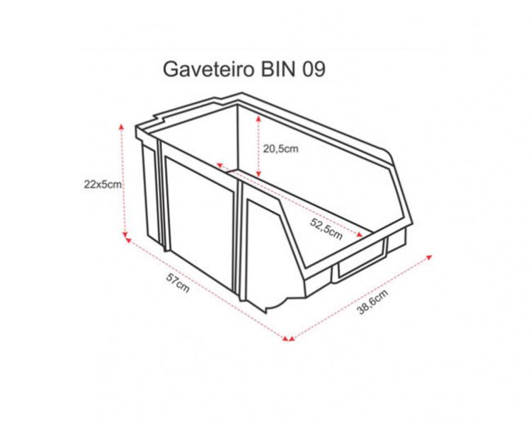 Estante caixa box organizadora para gavetas bin nº 9  ( 8 Gavetas )