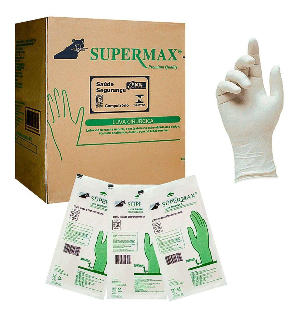 Luva Cirúrgica Estéril Látex - Caixa com 50 pares - Supermax Cirúrgica