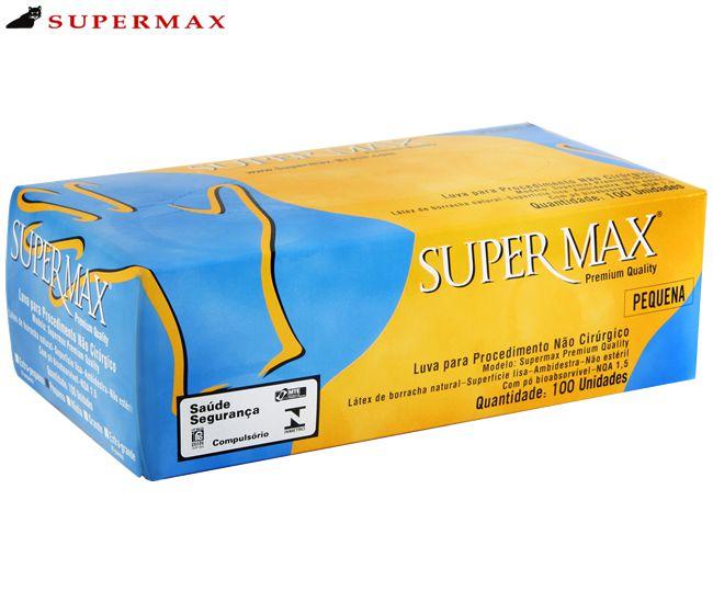 Luva de Procedimento Não Cirúrgico Latex - Caixa com 100 Unid - Supermax - Tam G