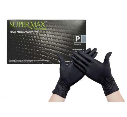 Luva para procedimento não cirúrgico sem pó Borracha Sintética Supermax Powder Free Nitrilo Black