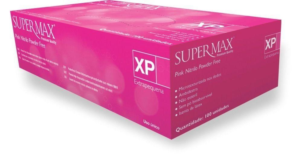 Luva para procedimento não cirúrgico sem pó  Borracha Sintética Supermax Powder Free Nitrilo Pink