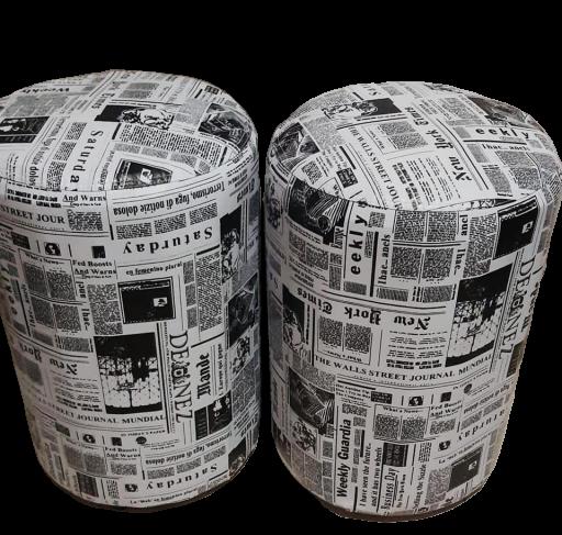 Puff Redondo Estampado - 38x38x43 cm - Kit com 2 unidades