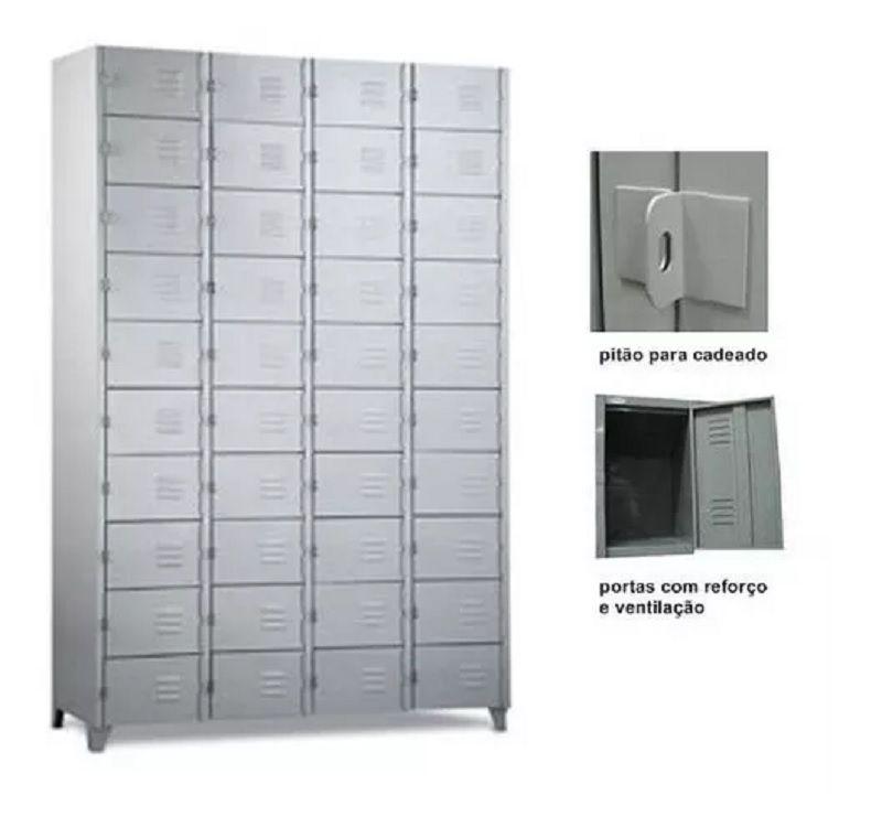 Roupeiro de aço - armário para vestiário - 32 portas pequenas - 04 corpos