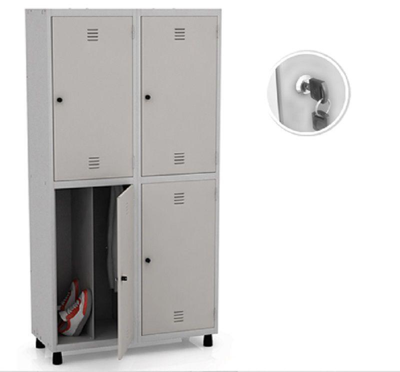 Roupeiro De Aço Vestiário Insalubre 4 Porta com 3 Divisões