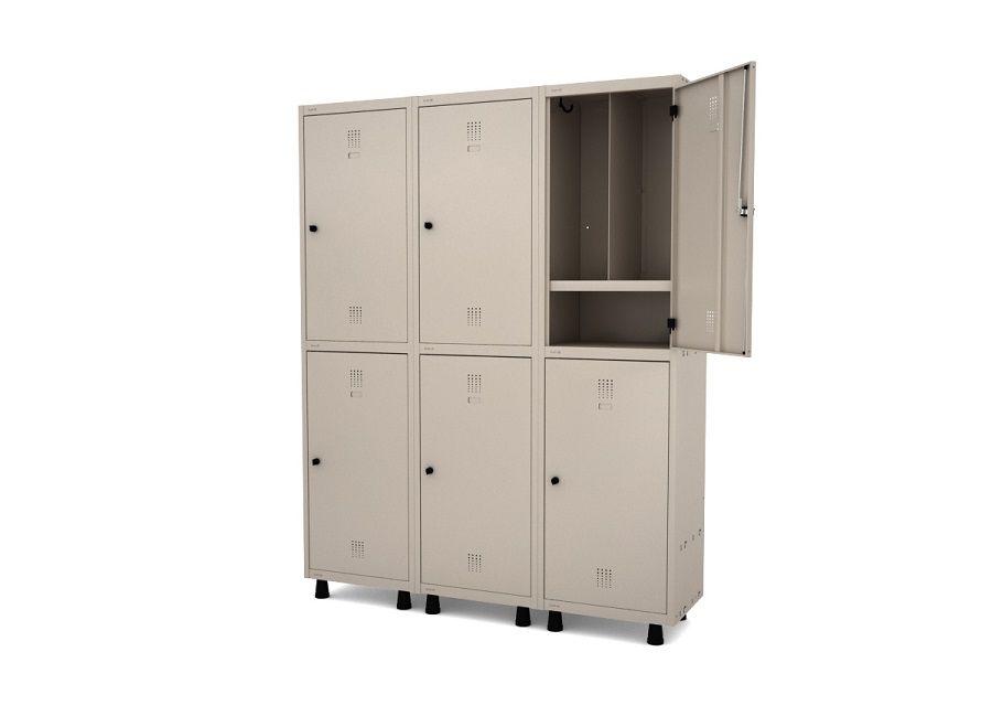 Roupeiro De Aço Vestiário Insalubre 6 Porta com 3 Divisões