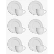 Conjunto de 6 Xícaras de Chá Linha Bolinha Branca Scalla