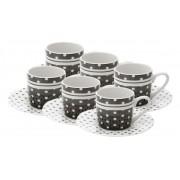 Conjunto de 6 Xícaras de Porcelana com Pires Black Dots 8327 - Lyor