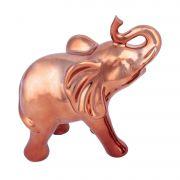 Elefante de Decoração em Cerâmica Urban House Curved Snout Cobre 40054