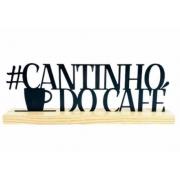 Enfeite Cantinho Do Cafe Metal Preto Com Base Madeira 34x12x5cm