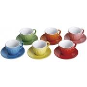 Jogo de 6 Xícaras com Pires Mary Colors 90ml Bon Gourmet