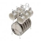 Jogo De Xicara Porcelana Para Café Com Pires E Suporte Rojemac - 35527