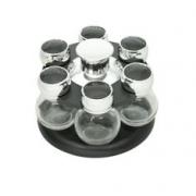 Porta Tempero giratório de plástico com 6 potes de vidro Poli - Bon Gourmet