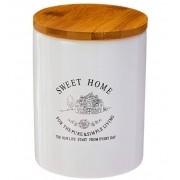 Pote De Cerâmica C/tampa De Madeira Sweet Home 700ml Lyor Branca No Voltagev