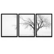 Quadro Decorativo Árvore da Vida 3 Peças Madeira Preta - Joede