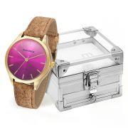 Relógio Feminino Mondaine Analógico Rosa Kit c/ Porta Jóias 76641LPMVDH2K5