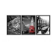 Trio De Quadro Decorativo Reino Unido - DBQD40