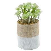 Vaso Plástico/Juta Cone Little Flowers Urban Branco/Bege Juta/Plastico