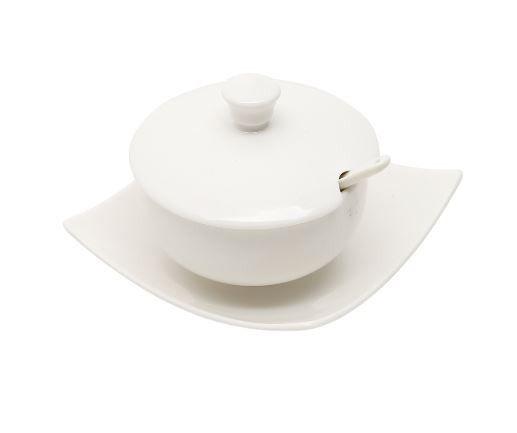 Açucareiro de Porcelana com Pratinho e Colher 1161 Rojemac