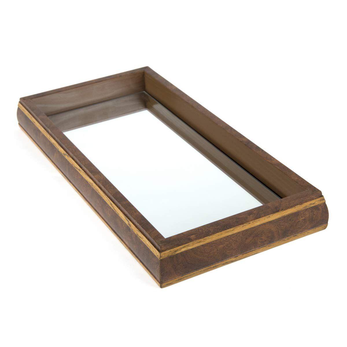 Bandeja c/ Espelho Bisotê Woodart Radica Cinza 11974