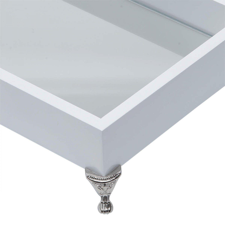 Bandeja de Madeira Com Pé e Espelho Laqueada Branca 10966 Rojemac