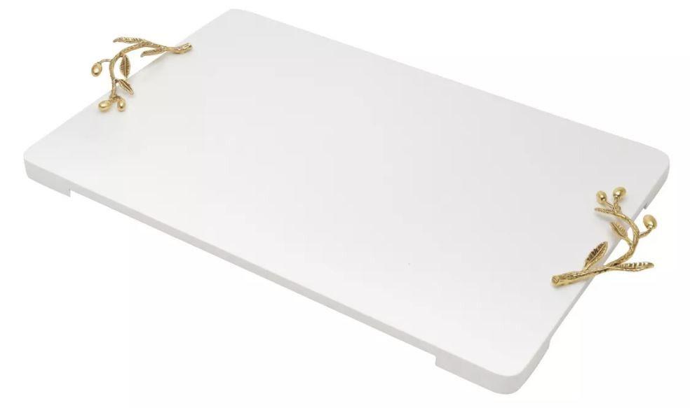 Bandeja Madeira Laqueado Branco C/alca Folhada Ouro 45x30x2c