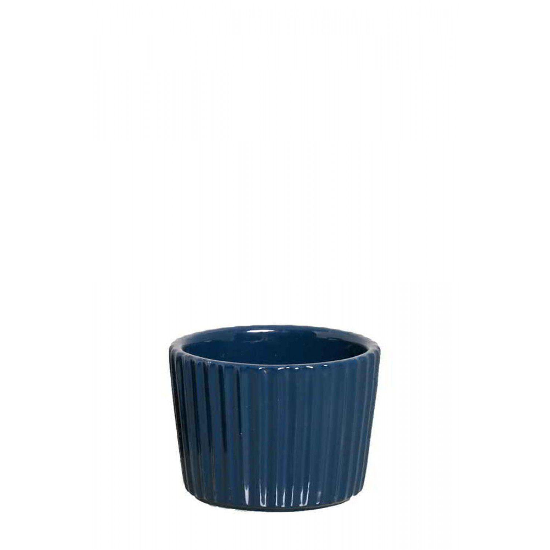 Cachepô Chalé Kalé em Cerâmica Cava Azul Petróleo 3581113