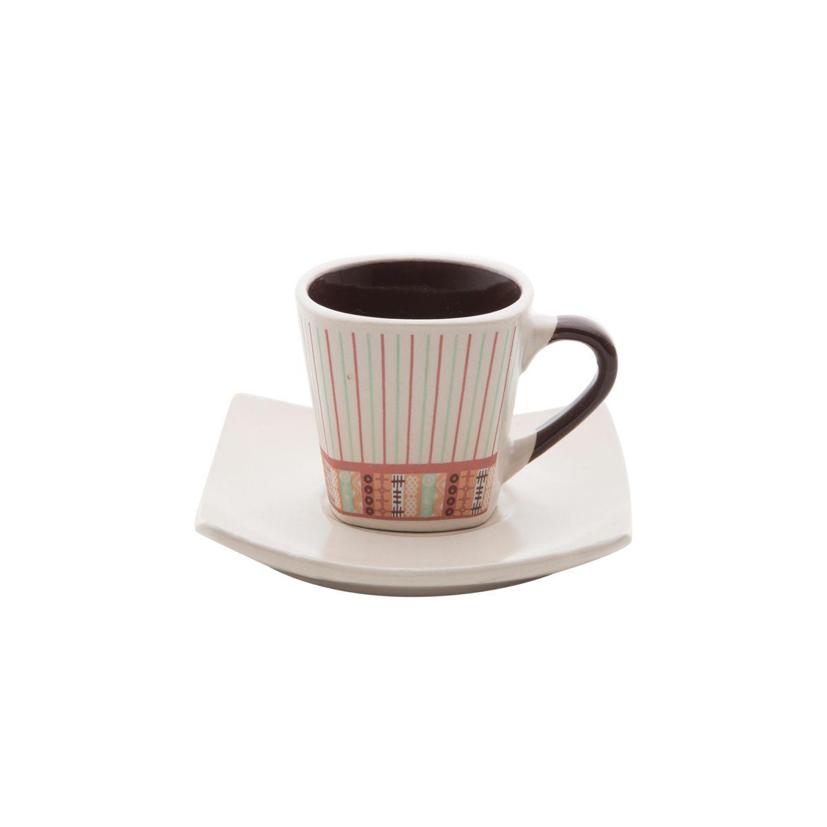 Cojunto de Xícaras Bon Gourmet Stripes 90ml c/ Pires 26105 - 12 Peças