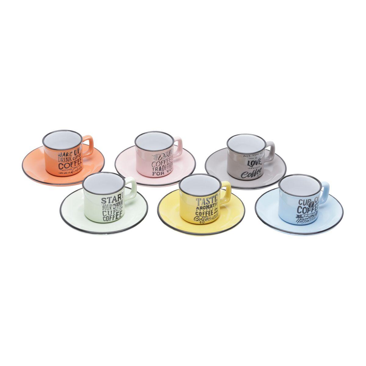 Cojunto de Xícaras de Café Coloridas Bon Gourmet Words 26105 - 12 Peças