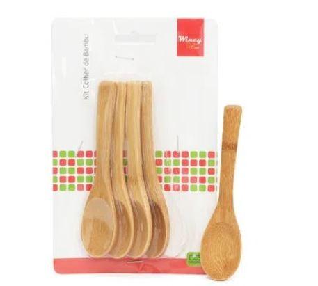 Colher de Bambu Kit com 5 Peças 12,5x3cm - Agudos Comércio
