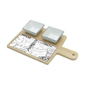 Conjunto 3 Peças Para Queijo E Petiscos De Bambu E Ceramica Cheese Design 7152 Lyor