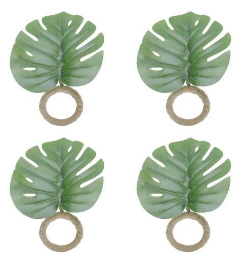 Conjunto 4 Anéis Para Guardanapo de Plástico Folha Verde 12x10,5  Lyor Verde