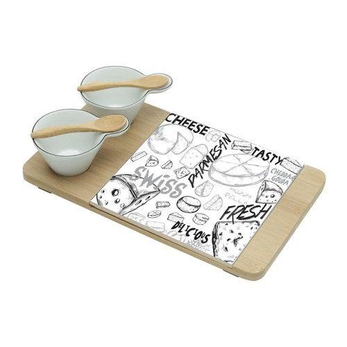 Conjunto 5 Peças para Queijo e Petiscos de Bambu c/ Ceramica Cheese Design 7154 Lyor.