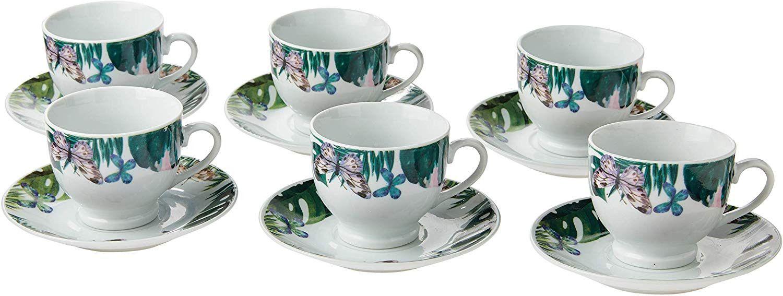 Conjunto 6 Xícaras Para Chá Com Pires De Porcelana 180ml Lyor 8462