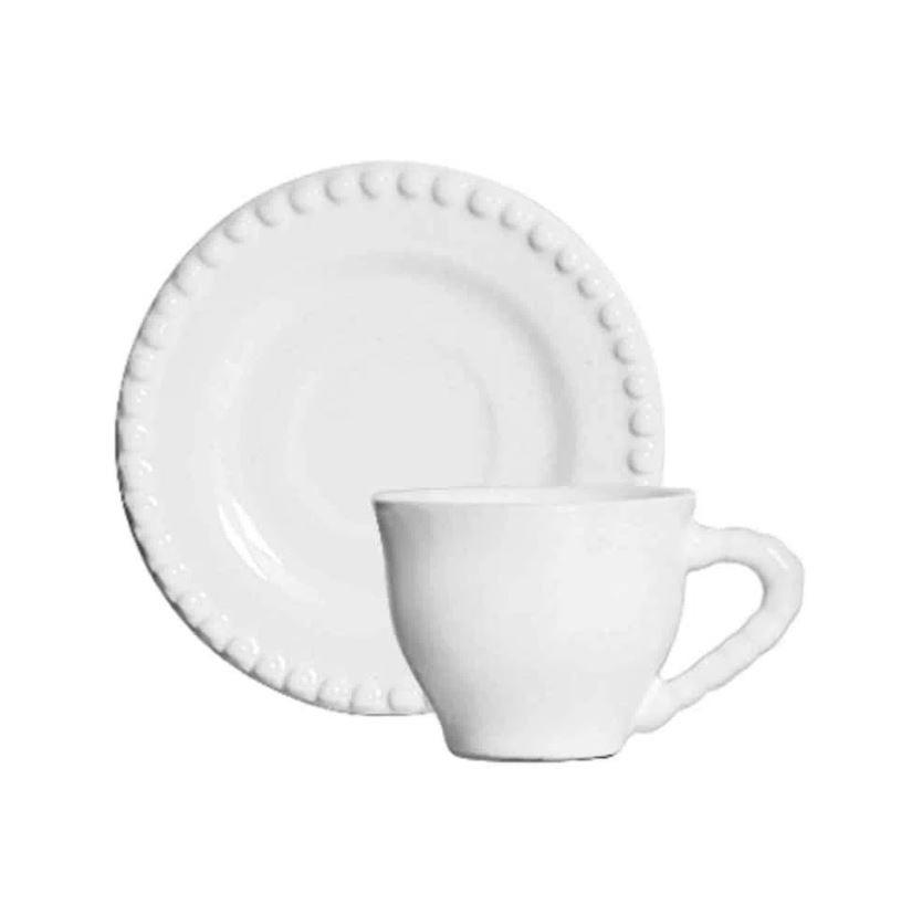Conjunto de 6 Xícaras de Café Com Pires Roma Branco 72ml