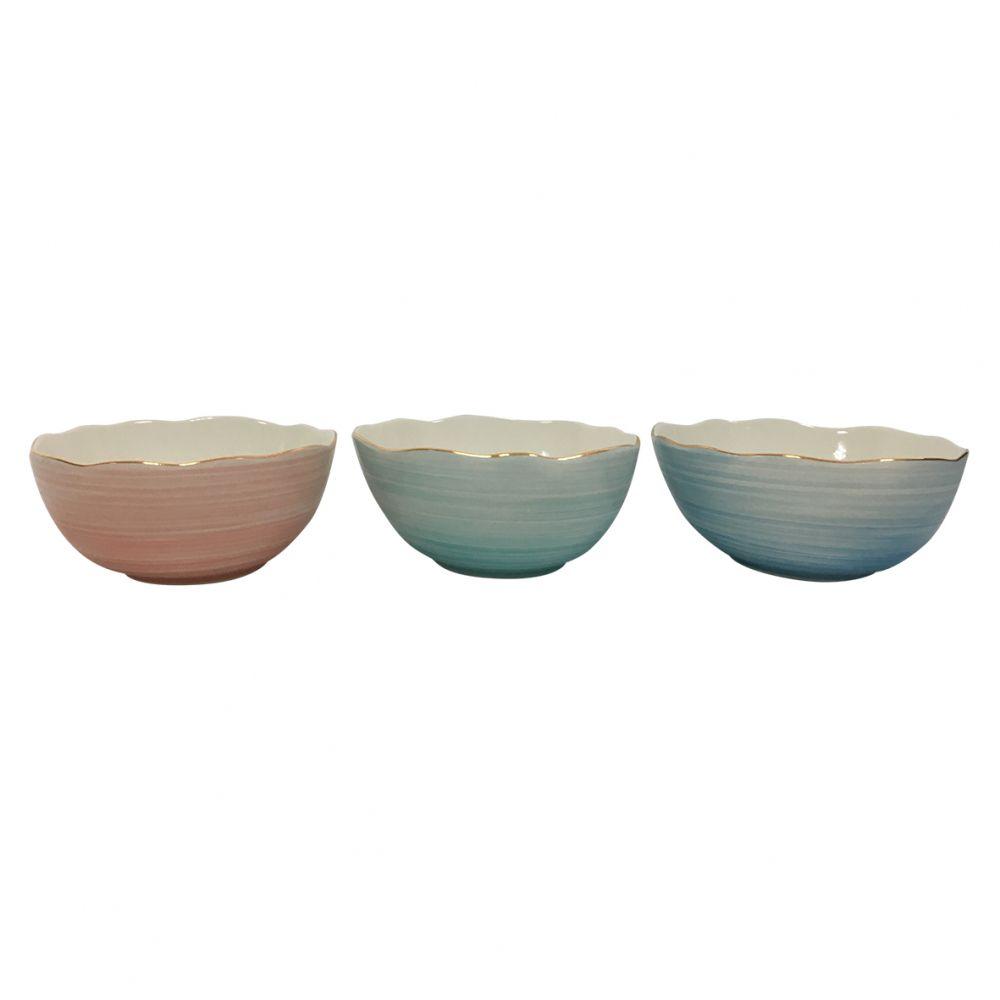 Conjunto de Bowls BTC Contemporâneo em Cerâmica ZQ3009 - 3 Peças