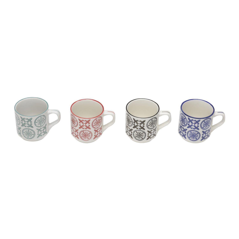 Conjunto de Canecas em Porcelana Lyor Royal 150ml 6744 - 4 Peças