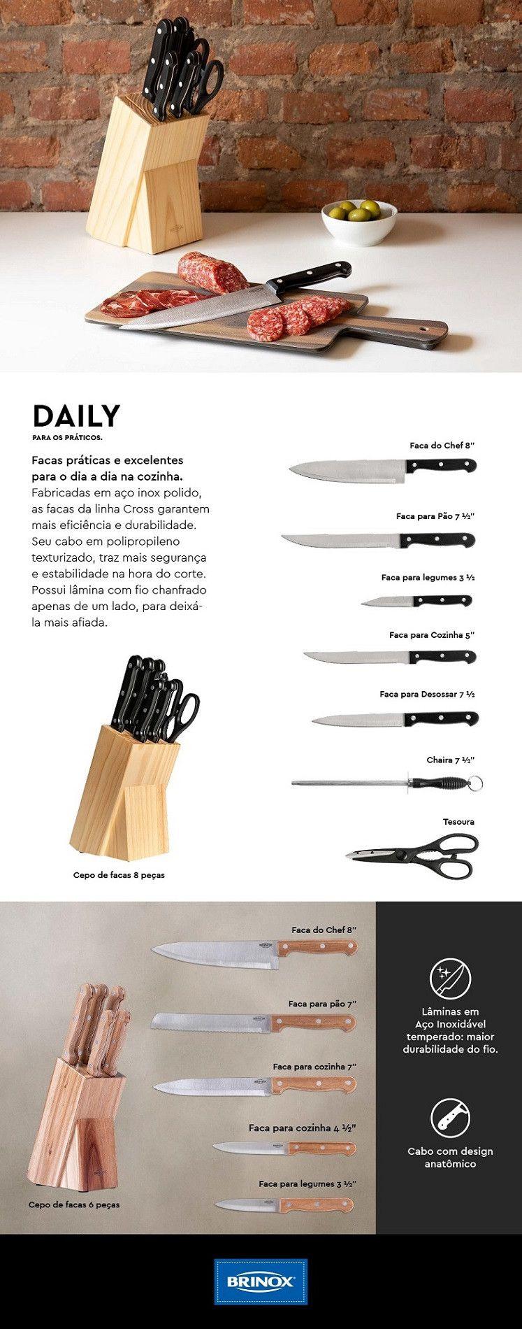 Conjunto de Facas Brinox Daily 2522/101 - 6 Peças