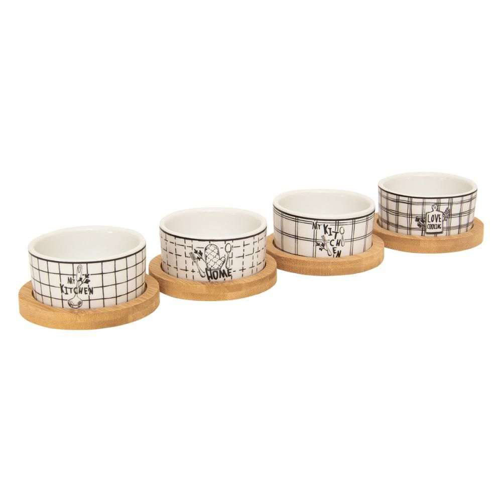 Conjunto de Petisqueiras c/ Base em Bambu Lyor 7158 - 4 Peças