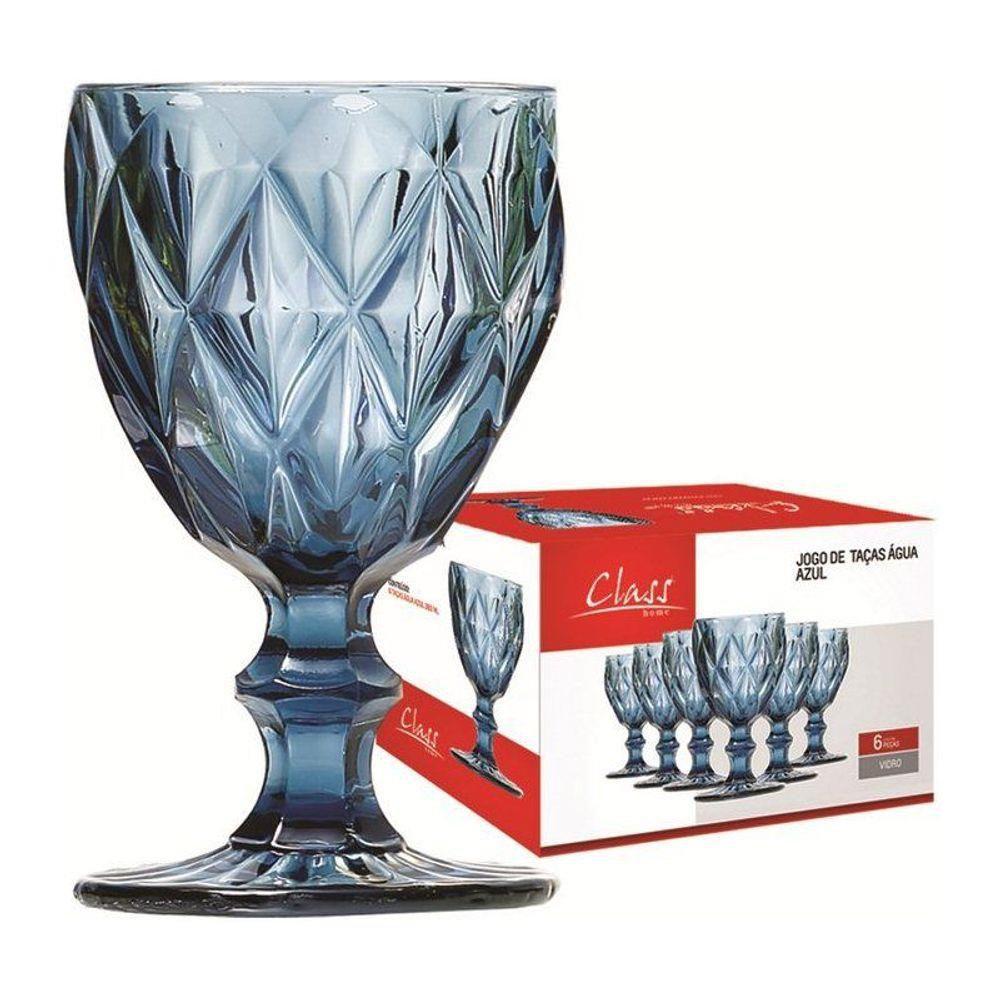 Conjunto de Taças de Água Class Home Diamante Azul 260ml 453 - 6 Peças
